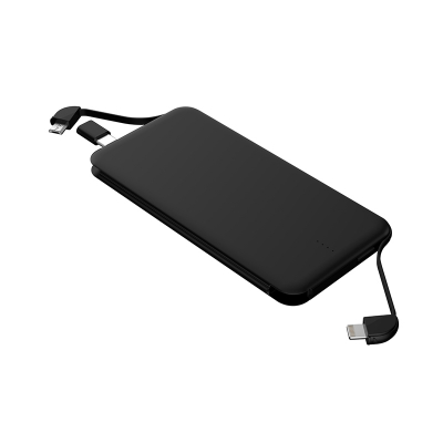 5000mAh Ultra-compact Power Bank with Built-in micro & lightning Cables